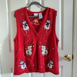 Ugly Christmas Sweater Red Vest With Snowmen